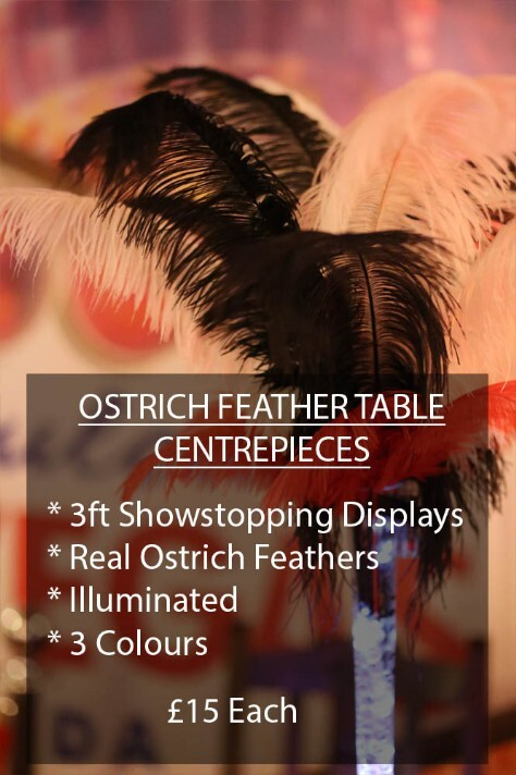 Ostrich Feather Table Displays